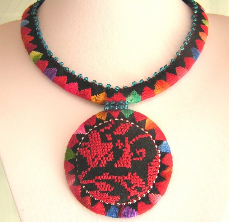 Palestinian-style embroidered necklace