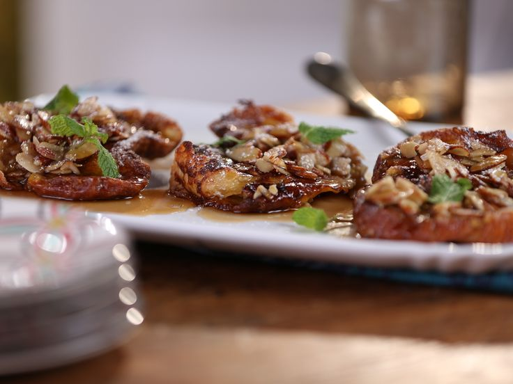 Almond Croissant French Toast with Almond Butter Syrup recipe from Bobby Flay via Food Network