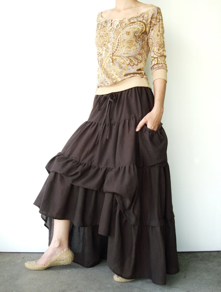 Dark Brown Cotton Maxi Skirt with tiers. $42.00, via Etsy. // it's actually the shirt here that I really want