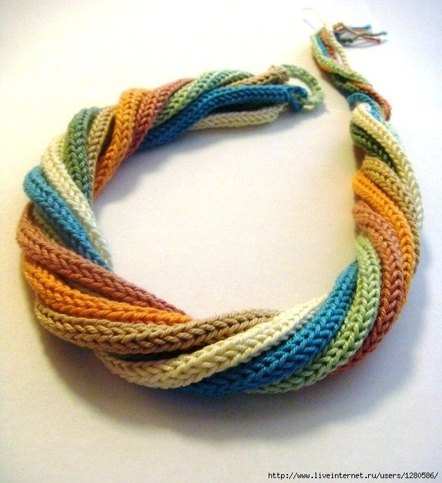 interesting. looks like knit I-cords twisted together to make a colorful necklace.
