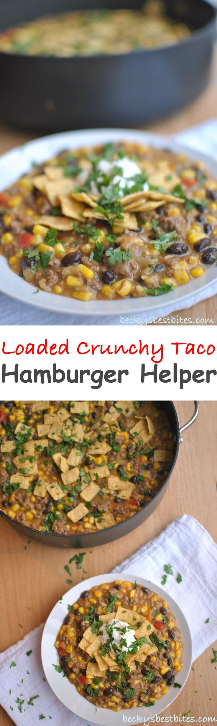 Loaded Crunchy Taco Hamburger Helper Recipe is a quick and easy family meal that provides a great value. A few healthy add-ins stretch the dollar even more.  | Becky's Best Bites #freebeef #helper #ad