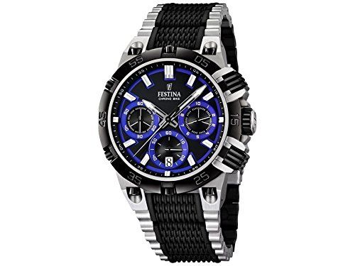 Men's Watch - Festina Tour de France - Chrono Bike - F16775/5. Display Type : Chronograph. Water-restistant (bar) : 10. Diameter (without crown) in mm/inches : 46 / 1,81. Weight in g/ounces : 155 / 5,47.