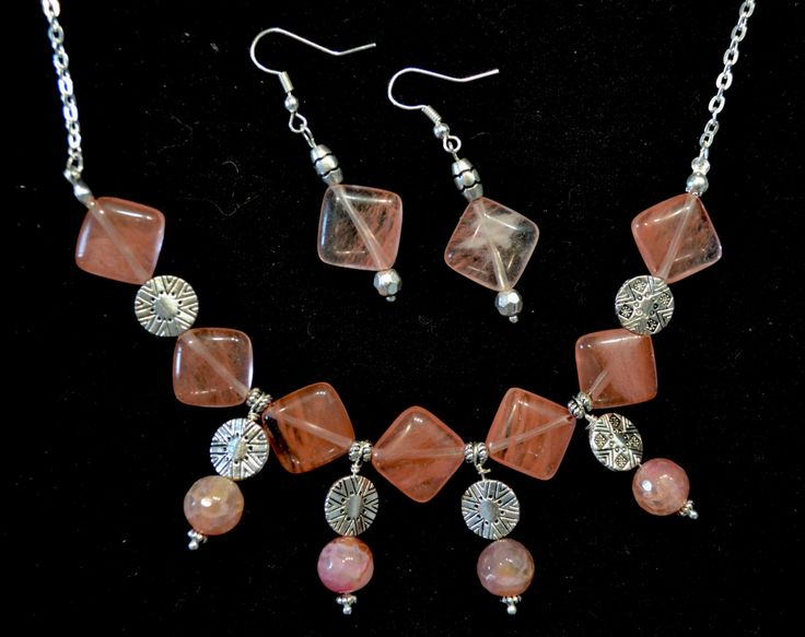 NECKLACE & EARRINGS - Gemstone and Silver Jewelry Set, Tourmaline and Agate, 2pcs Set by LKArtChic on Etsy