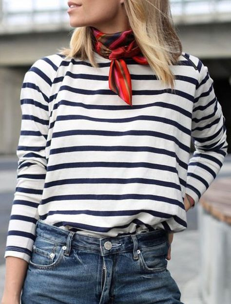 """THE NECK SCARF Don't dismiss this """"ladies who lunch"""" staple as stodgy. When paired with more casual tops like a striped shirt or crew neck sweater, it adds just the right amount of polish."""