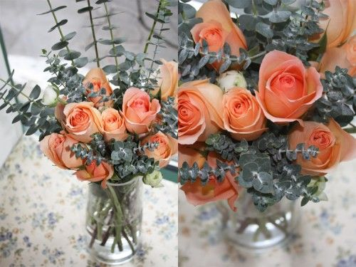 Love the color combo - peach roses and eucalyptus