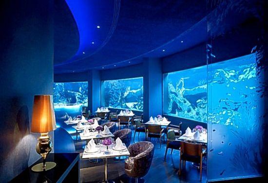 Alacarte resturant in Mardan Palace Antalya Turkey. A huge Aquarium