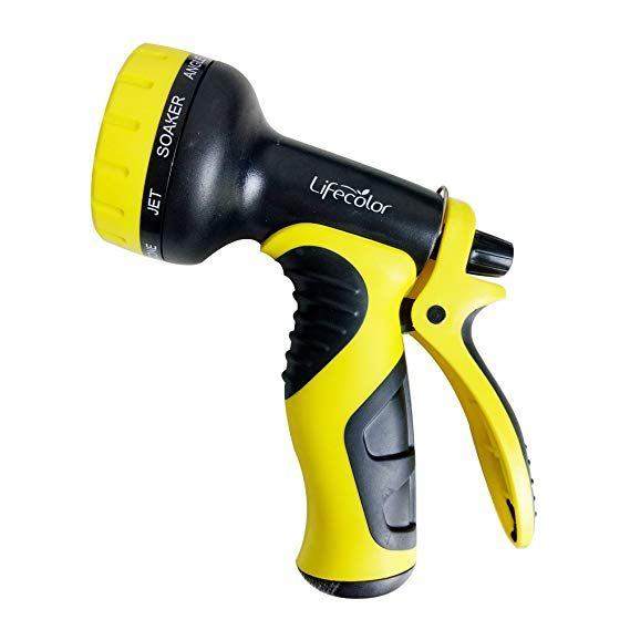 Lifecolor Garden Hose Nozzle 9 Pattern Flow Control Heavy Duty Spray Nozzle For Patio Lawn Garden Car Wash And Pets Showering