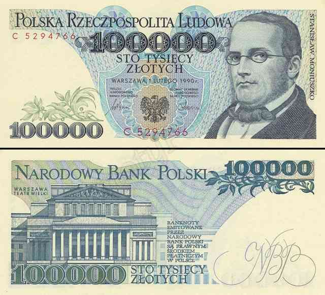 1974 series Polish 100,000-złoty banknote, featuring Stanisław Moniuszko and the coat of arms of Poland on the obverse side, and the Warsaw Grand Theatre on the reverse side.