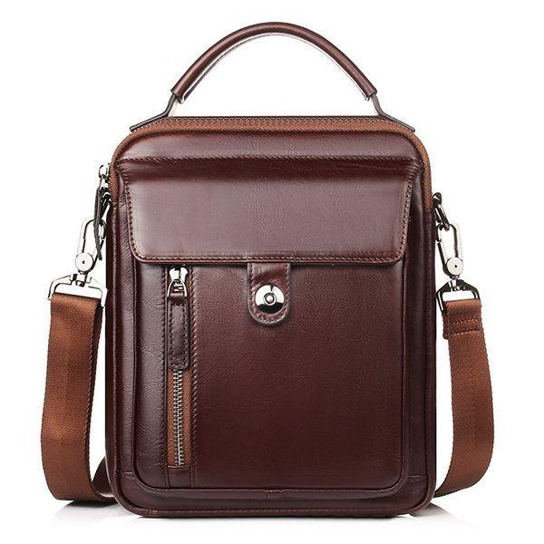 Color : Color Brown Fishagelo Men Large Capacity Business Briefcase Leather Shoulder Bag Handbag