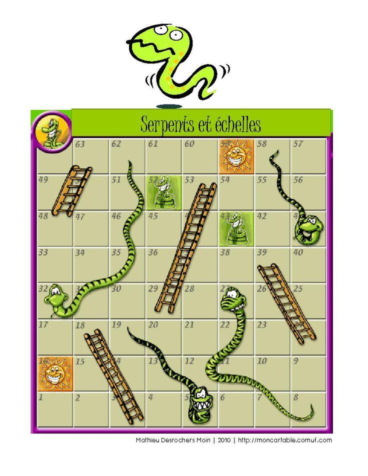 Mon cartable - Site de partage de ressources entre enseignants du préscolaire et du primaire - www.moncartable.ca - Jeu de serpents et échelles (Conjugaison)