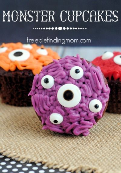 Monster Cupcakes -  Need ghoulish kids cupcake ideas for Halloween? These scary cupcakes will do the trick. The kids will have a blast making (and eating) these yummy Monster cupcakes.
