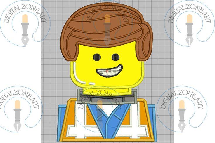 Emmet Lego Applique-Emmet Lego Portrait Head-Lego-Machine Embroidery Designs - INSTANT DOWNLOAD by DigitalZoneArt on Etsy