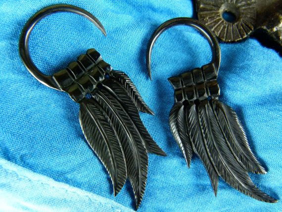 Horn Black Feather Starter Earrings 2mm 12g by TwoFeatherConnection