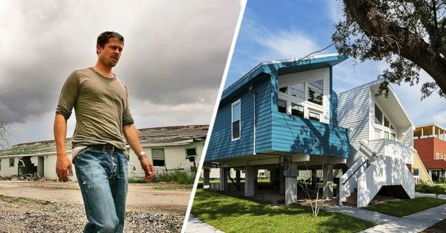 Blog do Rogério: Brad Pitt construiu casas para centenas de família que perderam tudo por causa do furacão Katrina -  foram construídas usando a mais recente tecnologia ecológica e o princípio da «construção verde».  Há painéis solares em todos os telhados.