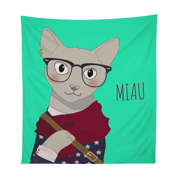 Tapestry gata hipster miau Xpodisain shop: Este tapestry esta hecho de tela sublimada con tintas ecológicas. Es el accesorio ideal para tu habitación. Utilízalo para adornar tu pared, incluso para llevarlo a la playa o como manta de picnic. 100% poliéster.Color, multicolor.Tamaño, 130 x 150 cm.Hecho en Viña del Mar, Chile.