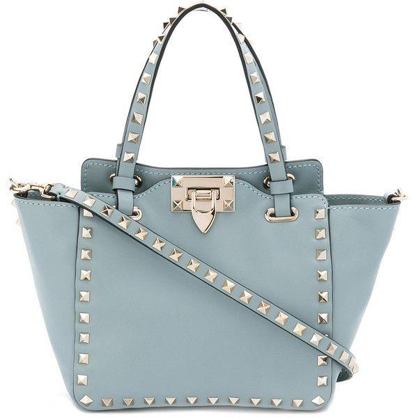 Valentino Garavani Rockstud mini tote found on Polyvore featuring bags, handbags, tote bags, blue, tote purses, blue tote bag, mini purse, handbag tote and blue handbags