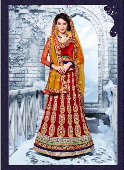 Tranquil Crimson Color Color Faux Georgette Bases #Lehenga #Choli #bridallehenga #ethnicwear #womenfashion #clothing #fashion