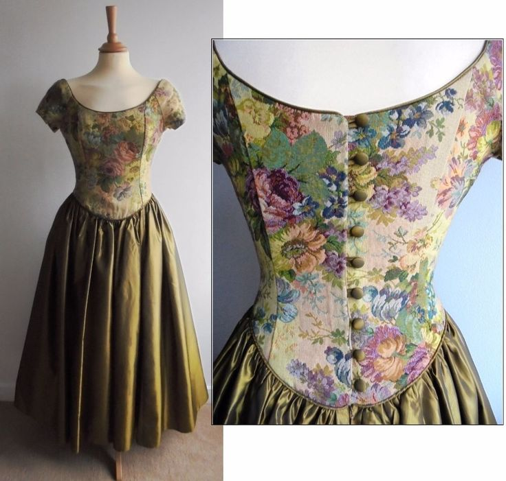 LAURA ASHLEY Green Tapestry Dress Vintage Full Skirt Fitted Bodice Medieval UK10
