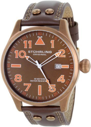 Stuhrling Original Men's 141EA.3365K59 Leisure Eagle Flyer Swiss Quartz Date Brown Watch Stuhrling Original. $82.30. Brown simple dial with date window and orange markers. Decorated screw-down case back with onion style crown. Brown genuine leather strap with light brown stitching. Water-resistant to 165 feet (50 M). Bronze brushed finish round shaped bezel with Krysterna crystal