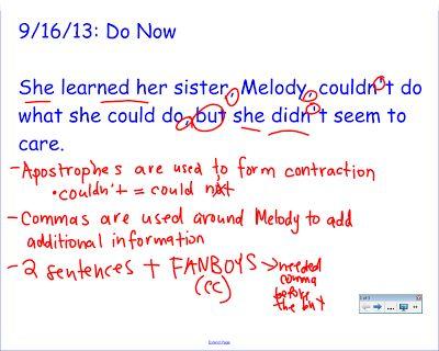 Using mentor sentences to teach grammar and mechanics (a la Jeff Anderson)