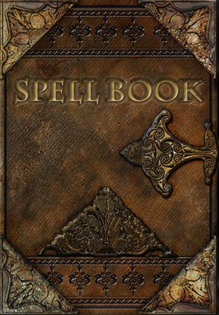 Spell Book with brown leather binding and gold. Intriguing.