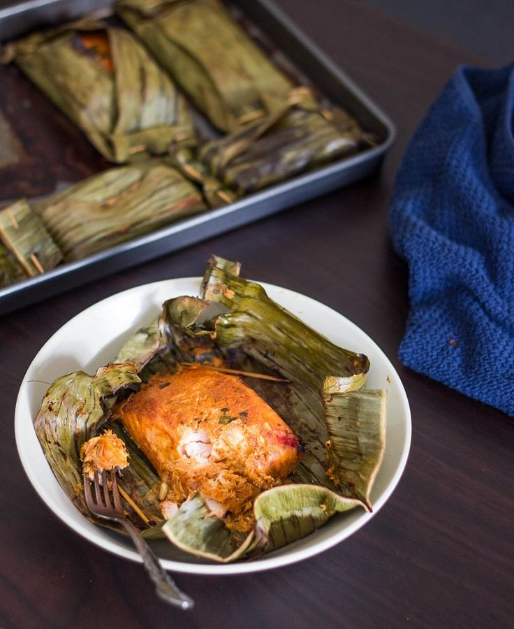 Grilled Red Curry Salmon in Banana Leaves
