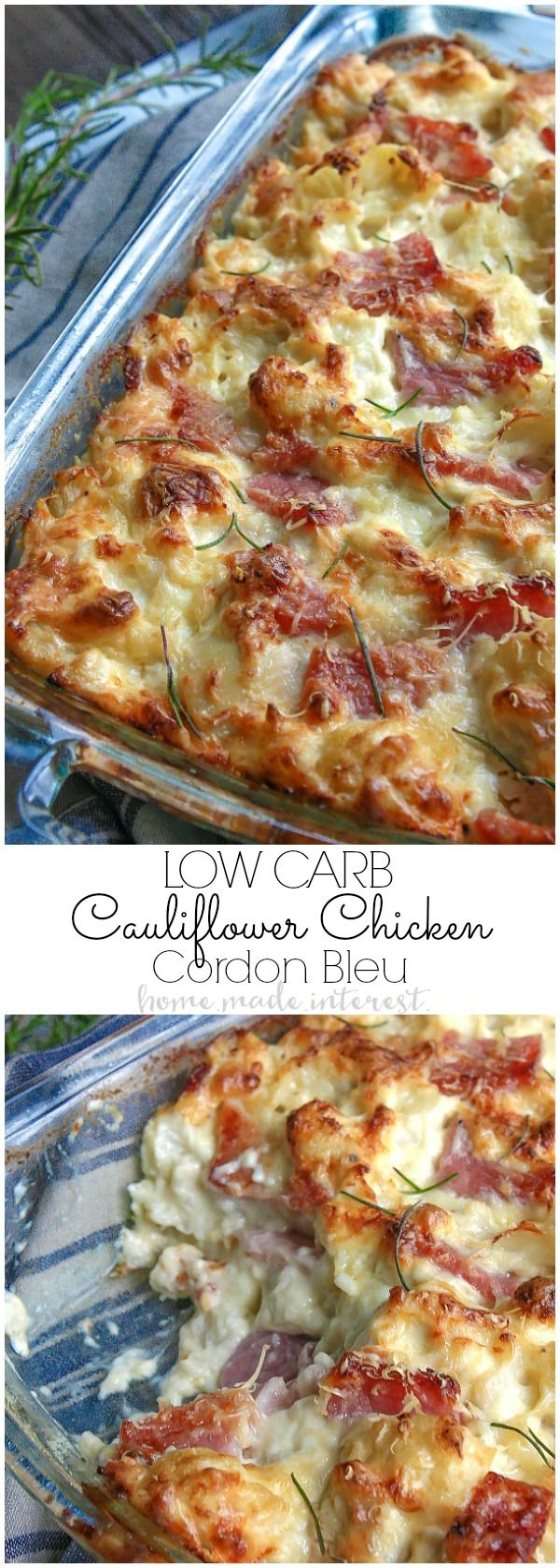 This chicken cordon bleu casserole is a low carb recipe that is rich, creamy, and amazing. This is an easy low carb dinner recipe made with cauliflower, ham, chicken, covered in a creamy dijon sauce.