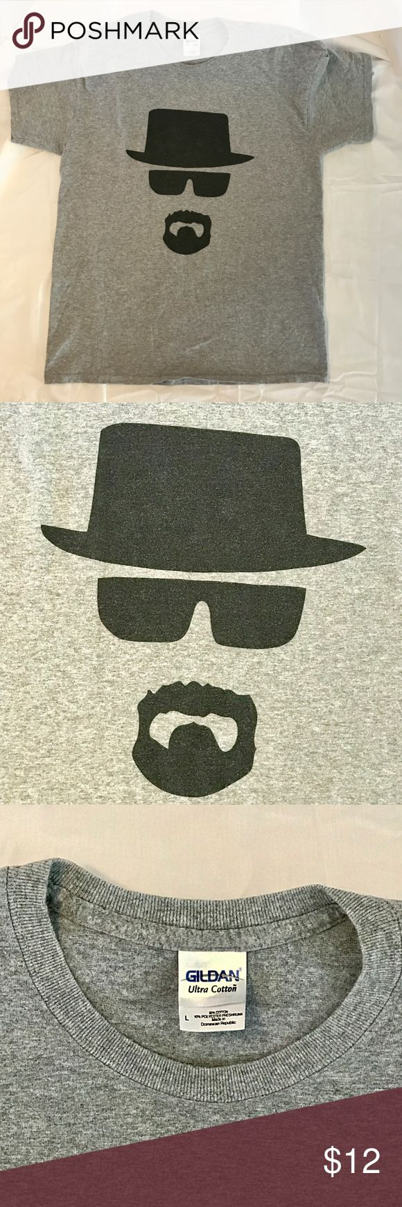 """Heisenberg """"What's Up Bitches?"""" Tee Sz Lg Breaking Bad Heisenberg """"What's Up Bitches?"""" Sz Lg. This shirt is gently worn and soft.  Pre-Owned: Good Condition; Shirt is faded; applique is faded; No other visual imperfections. Material: 90% Cotton; 10% Poly Questions Welcome 😊 😊Thank you for browsing my closet and have a good day!❤  ***************************************************** 💖 bundle & save 🌀 OFFERS WELCOME 📦 fast shipping Gildan Shirts"""