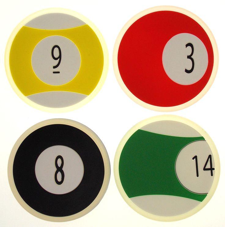 Lot 2 Billiards Pool Drink Coaster Set 4 Supreme Dishwasher Safe Balls 3 8 9 14