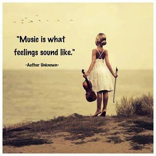 wise words, music is what feelings sound like, girl, beach, Ocean view, quote, citat, saying, true, violin, photo.