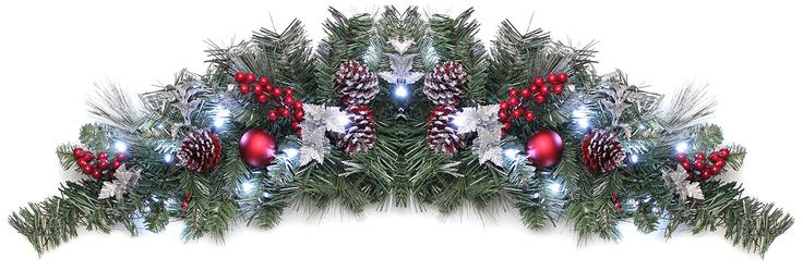 WeRChristmas 90 cm Frosted Decorated Pre-Lit Arch Garland Christmas Decoration Illuminated with 20 Warm White LED Lights: Amazon.co.uk: Kitchen & Home
