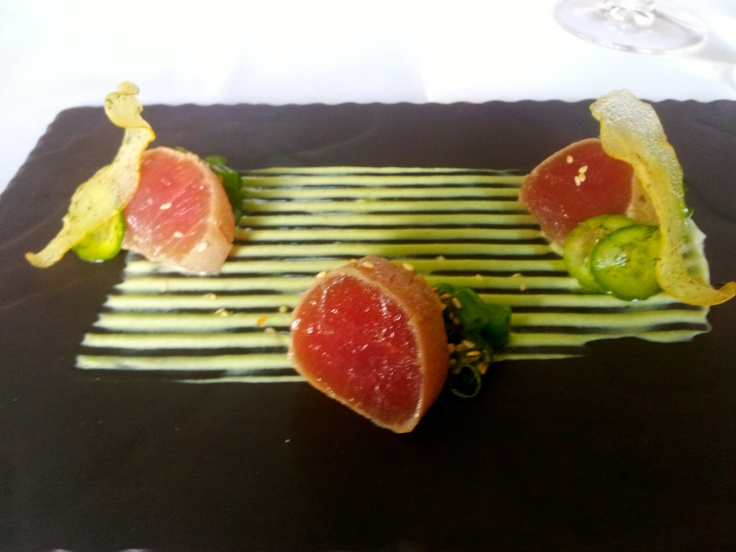 Seared Tuna w/ sesame and bean salad, spring onion yogurt- Ten Minutes by Tractor, Mornington Peninsula