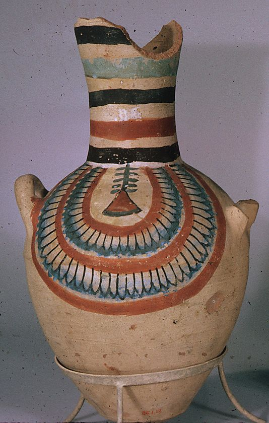 Jar from the tomb of Sennedjem. Egypt, ca. 1279–1213 B.C. Excavated  for the Egyptian Antiquities Service in the 1885-1886 season. Sold to the Metropolitan Museum of Art by the Egyptian government in 1886.