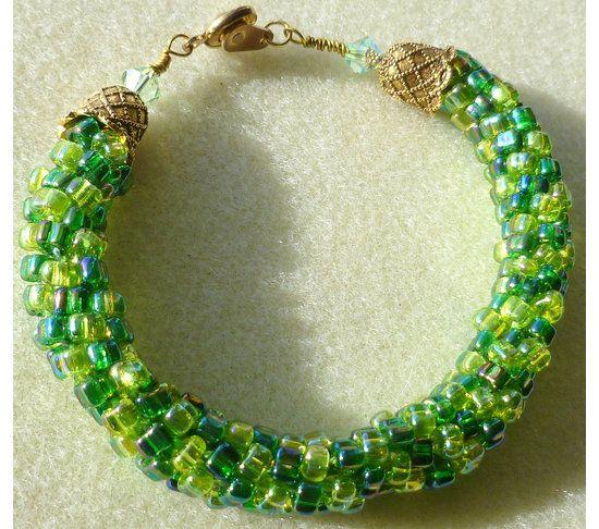 Beaded Kumihimo bracelet, green with Swarovski bead accent
