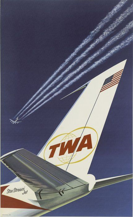 classic posters, free download, graphic design, retro prints, travel, travel posters, vintage, vintage posters, TWA, Trans World Airlines - Vintage Airlines Travel Poster