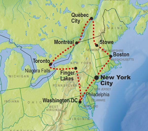 Map Of Ne Us And Canada Image result for north east travel itinerary US | Canada tours