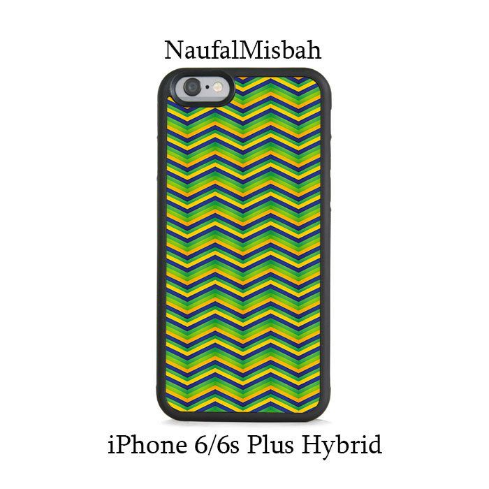 Green Zig Zag Pattern iPhone 6/6s PLUS HYBRID Case Cover