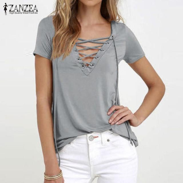 e7525133205 ZANZEA Women 2017 Summer Sexy V Neck Blouses Short Sleeve Casual Hollow Out  Lace Up Solid Shirts Plus Size Blusas Tee Tops