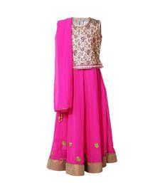 Buy Little Radha Georgette Pink Sleeveless Kids Lehanga Choli kids-lehenga-choli online