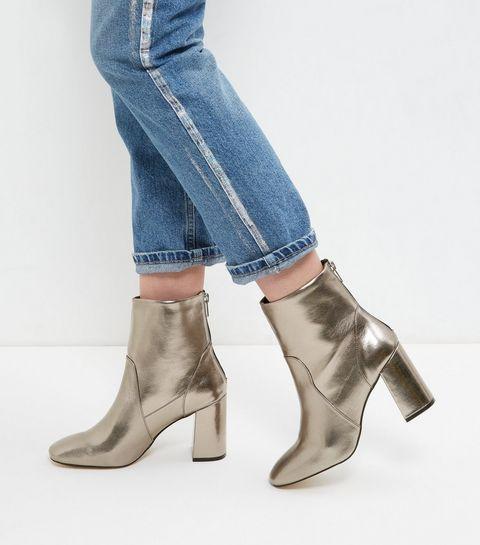 Bronze Back Zip Block Heel Boots