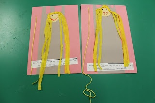 Fairy Tale Fun: Rapunzel Craft & Measuring Activity -> Dit zou goed passen bij De prinses met de lange haren, prentenboek van Annemarie van Haeringen
