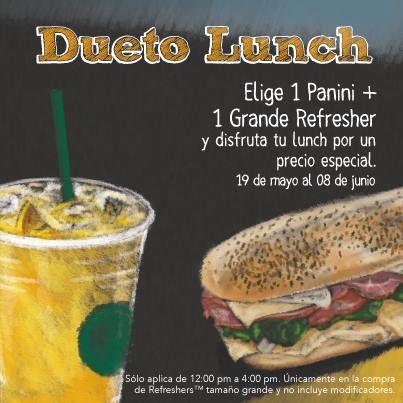 """Starbucks: Promoción dueto lunch Starbucks cuenta con una muy buena oferta y promoción a la que llaman""""dueto lunch"""" y ofrecenun panini y un refresher grande y disfruta tu lunch a""""precio especial"""" de 12:oo p.m a 16:00 p.m. Esta oferta y promoción de Starbucks México estará disponible del 19 d... -> http://www.cuponofertas.com.mx/oferta/starbucks-promocion-dueto-lunch/"""