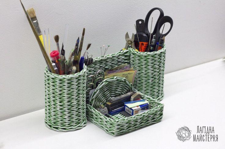 Небольшой органайзер (плетение из бумажной лозы, газет, бумажных трубочек, basket weaving, paper)