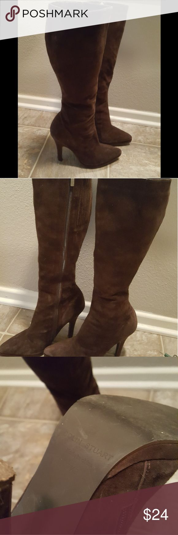 Colin Stuart Brown Suede like boots 7.5 All man made material. Some lights scuffs otherwise good condition Colin Stuart Shoes Heeled Boots