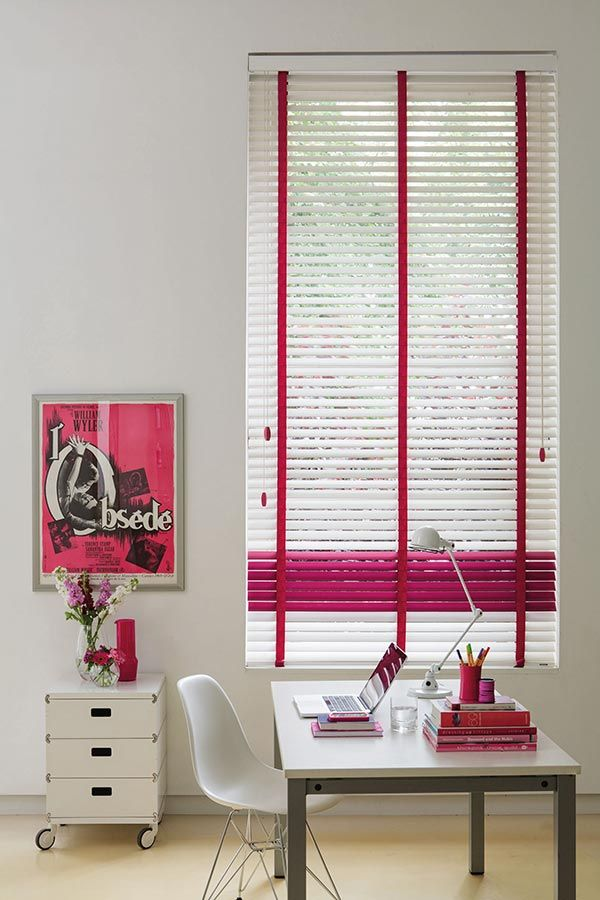 Add a splash of a colour to your work space! | White & Pink wooden blinds | Bolton Blinds Wooden Blinds For Your Windows |