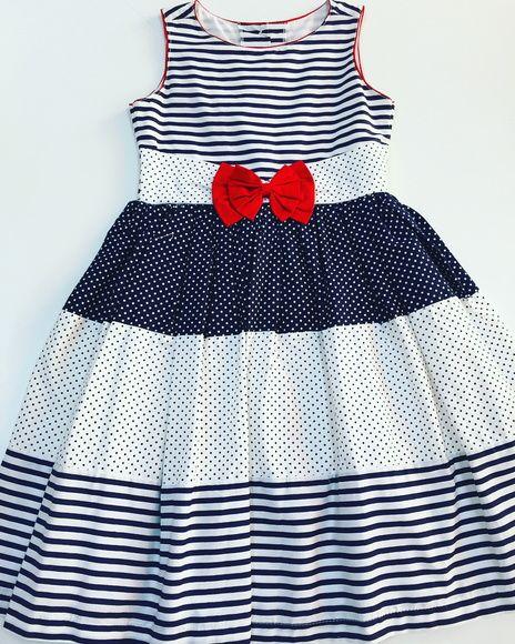Vestido infantil azul com vermelho