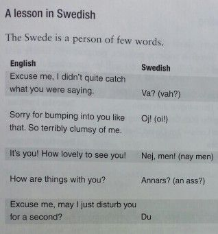 "I'm Swedish and I'm a little offended..... if someone bumps in to me I just say ""Men de vad då de själva faan. Vad i helvete göra du din jävla fitta!"" Hahhahhahha lol"