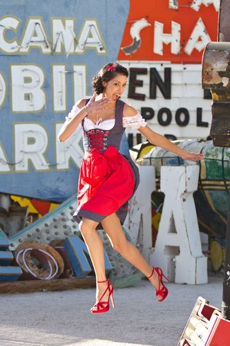 Rebecca Mir at the Shooting for Krüger Dirndl in Las Vegas