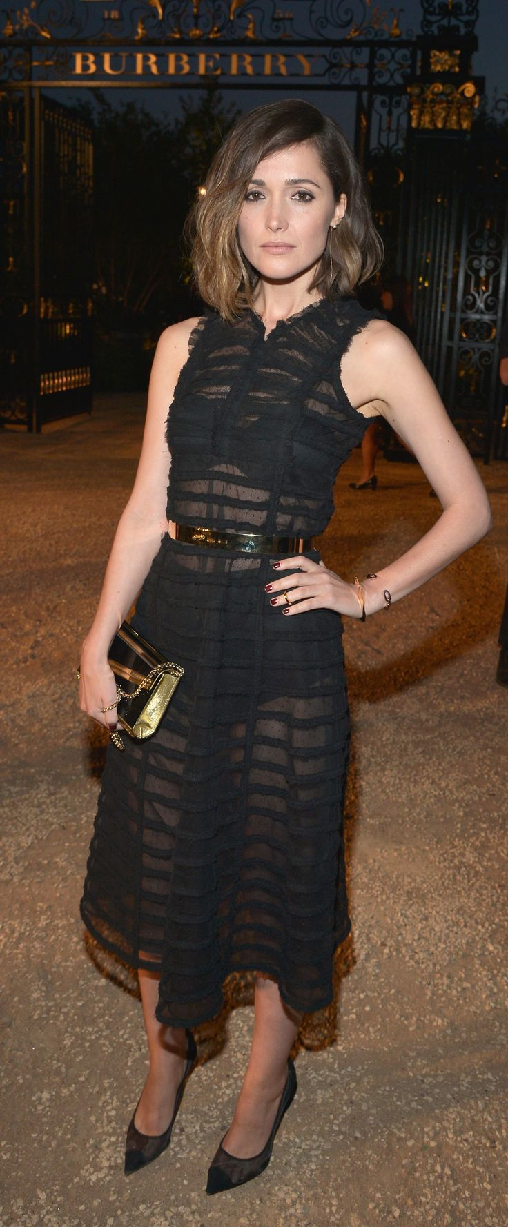 Australian actress Rose Byrne wearing sheer black Burberry dress to attend 'London in Los Angeles' in Hollywood