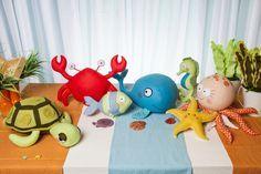 tartaruga, caranguejo, peixinho, baleia, estrela do mar, polvo e cavalo marinho: turminha em feltro para decorar festas e quartos infantis feitos pela Ana